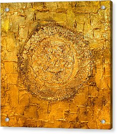 Yellow Gold Mixed Media Triptych Part 1 Acrylic Print