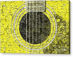 Yellow Guitar - Digital Painting - Music Acrylic Print by Barbara Griffin