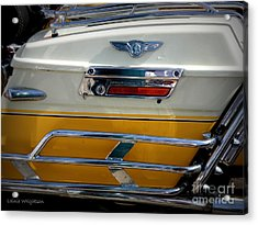 Yellow Harley Saddlebags Acrylic Print by Lainie Wrightson