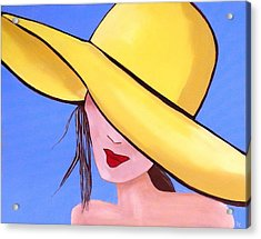 Yellow Hat On Blue Acrylic Print by Patricia Cleasby