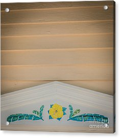 Yellow Hibiscus Wall Detail Key West - Square - Hdr Style Acrylic Print