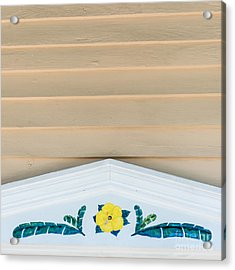 Yellow Hibiscus Wall Detail Key West - Square  Acrylic Print