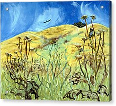 Acrylic Print featuring the painting Yellow Hills And Thistles  by Asha Carolyn Young
