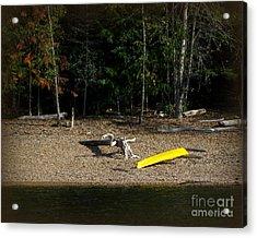 Yellow Kayak Acrylic Print by Leone Lund