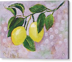 Yellow Lemons On Purple Orchid Acrylic Print by Jen Norton