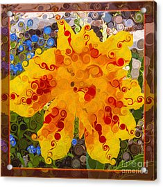 Acrylic Print featuring the painting Yellow Lily With Streaks Of Red Abstract Painting Flower Art by Omaste Witkowski