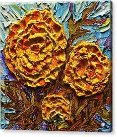 Yellow Marigolds Acrylic Print by Paris Wyatt Llanso
