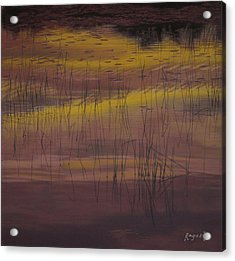 Yellow Marsh Acrylic Print by Harvey Rogosin