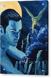 Yellow Moon Acrylic Print by Rene Capone