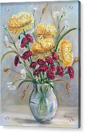 Acrylic Print featuring the painting Yellow Mums by Katalin Luczay