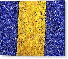 Yellow On Blue Stone Acrylic Print