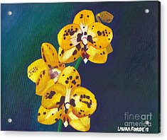 Acrylic Print featuring the painting Yellow Orchids by Laura Forde