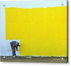 Yellow Paint Acrylic Print by Tom Brickhouse