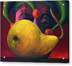 Yellow Pear And Jester Acrylic Print by Marie-louise McHugh