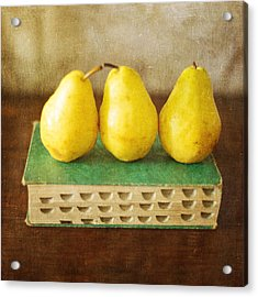 Yellow Pears And Vintage Green Book Still Life Acrylic Print