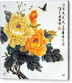 Acrylic Print featuring the photograph Yellow Peonies by Yufeng Wang