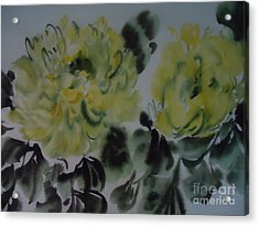 Acrylic Print featuring the painting Yellow Peony 1-01272012 by Dongling Sun