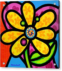 Yellow Pinwheel Daisy Acrylic Print