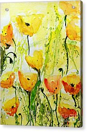 Yellow Poppys - Abstract Floral Painting Acrylic Print by Ismeta Gruenwald
