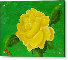 Acrylic Print featuring the painting Yellow Rose Of Beta Sigma Phi by Margaret Harmon