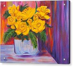 Yellow Roses Acrylic Print by Dani Altieri Marinucci