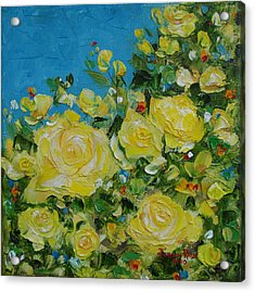 Acrylic Print featuring the painting Yellow Roses by Judith Rhue