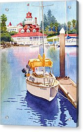 Yellow Sailboat And Coronado Boathouse Acrylic Print by Mary Helmreich