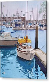 Yellow Sailboat Oceanside Acrylic Print by Mary Helmreich