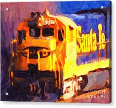 Yellow Sante Fe Locomotive Acrylic Print by Wingsdomain Art and Photography