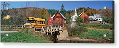 Yellow School Bus Crossing Wooden Acrylic Print