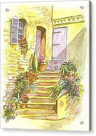 Acrylic Print featuring the painting Yellow Steps by Carol Wisniewski