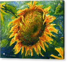 Yellow Sunflower Art In Blue And Green Acrylic Print