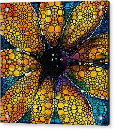 Yellow Sunflower - Stone Rock'd Art By Sharon Cummings Acrylic Print by Sharon Cummings