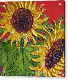 Yellow Sunflowers On Red Acrylic Print by Paris Wyatt Llanso
