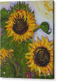 Yellow Sunflowers Acrylic Print by Paris Wyatt Llanso