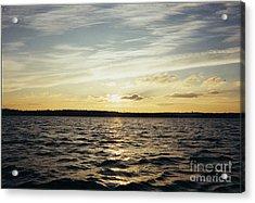 Yellow Sunrise In Manhassett Bay Acrylic Print by John Telfer
