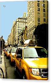 Yellow Taxis Acrylic Print by Claudette Bujold-Poirier