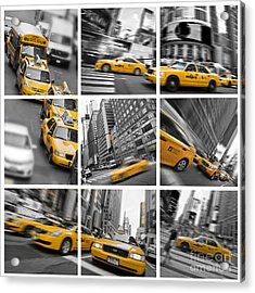 Yellow Taxis Collage Acrylic Print