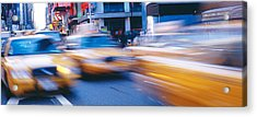 Yellow Taxis On The Road, Times Square Acrylic Print