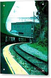 Yellow Track Acrylic Print by Sally Simon