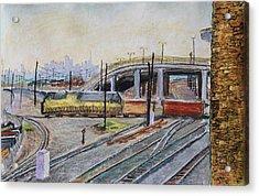 Yellow Train And San Francisco Skyline Acrylic Print by Asha Carolyn Young