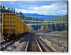 Yellow Train To The Mountains Acrylic Print
