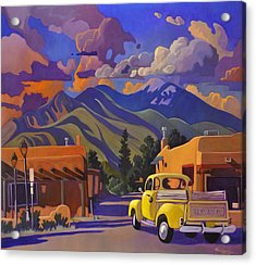 Acrylic Print featuring the painting Yellow Truck by Art James West