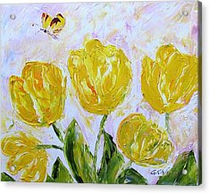 Yellow Tulips And Butterfly Acrylic Print