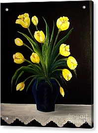 Yellow Tulips And White Eyelet Acrylic Print by Peggy Miller