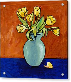 Yellow Tulips In A Turquoise Vase Acrylic Print