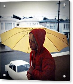 Yellow Umbrella - Polaroid 1976 Acrylic Print