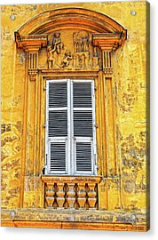 Acrylic Print featuring the photograph Yellow Window Nice France by Dave Mills