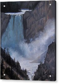 Yellowstone Falls Evening Acrylic Print by Mar Evers