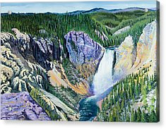 Yellowstone Falls Acrylic Print by Timithy L Gordon